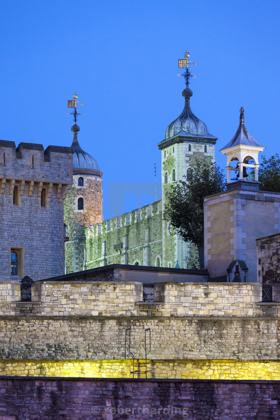 """The Tower of London illuminated at night, UNESCO World Heritage Site, London,..."" stock image"